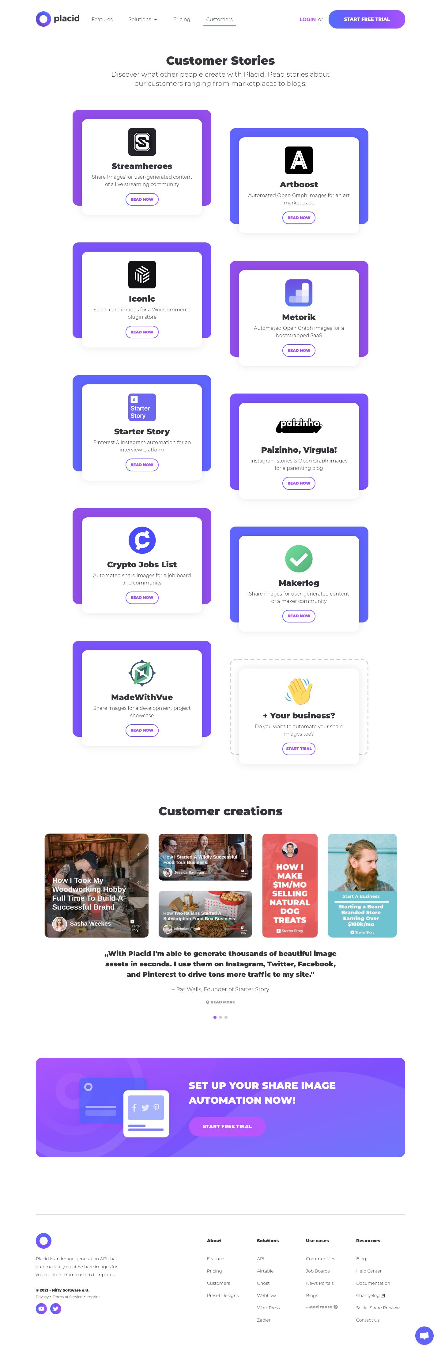 Placid Customers Page