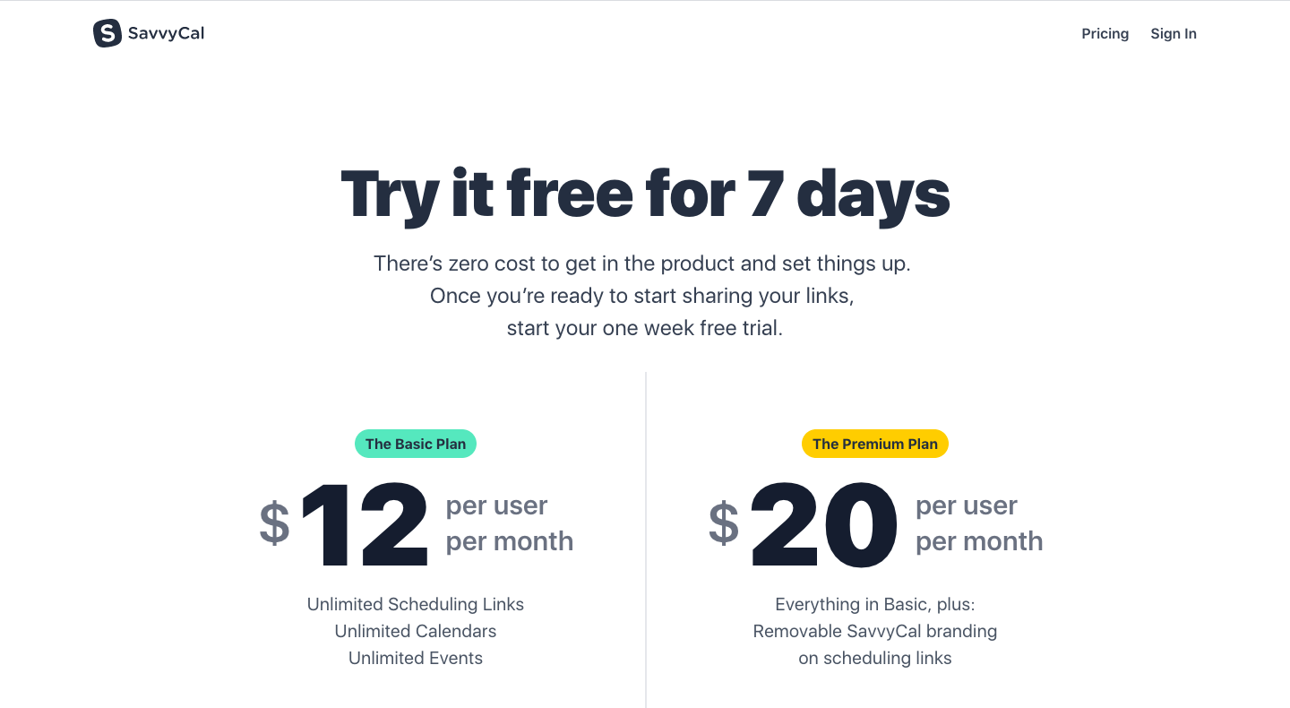 SavvyCal Pricing Page