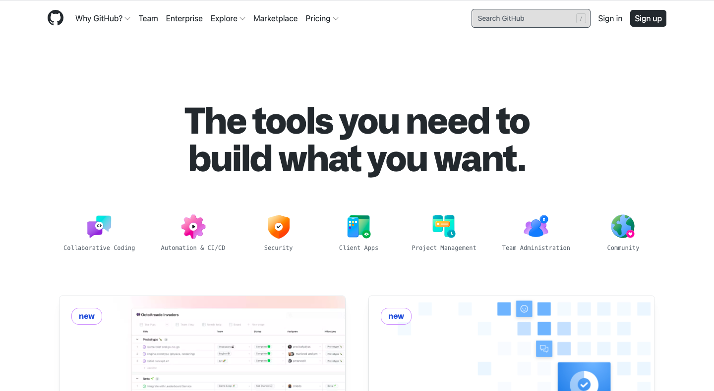 GitHub Features Page