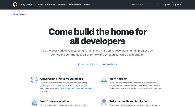 GitHub Careers Page