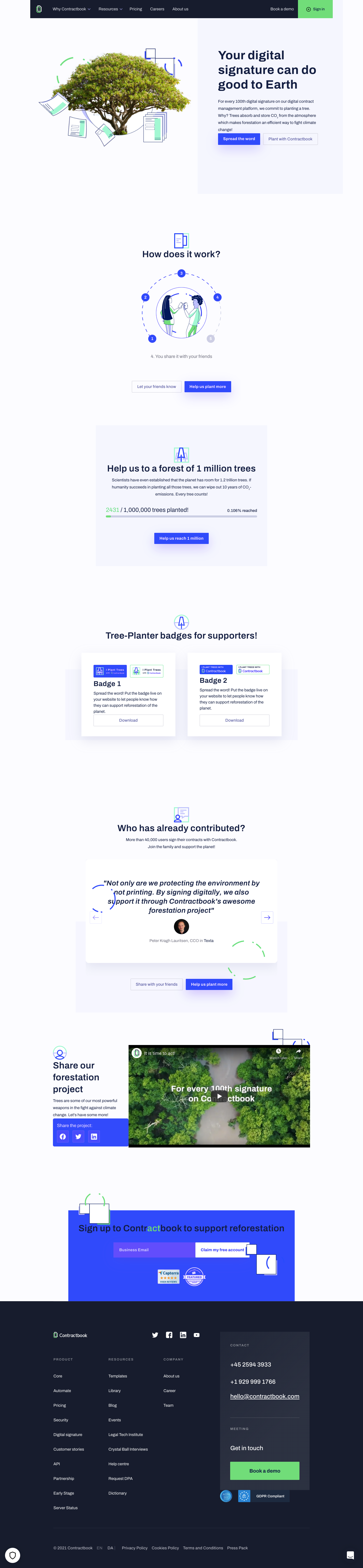 Contractbook Impact Page