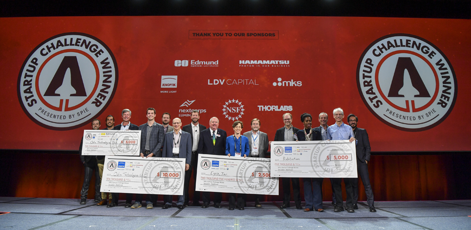 PITCH PERFECT: SPIE Startup Challenge 2020 Healthcare winners, sponsors, and judges with SPIE President John Greivenkamp, center.