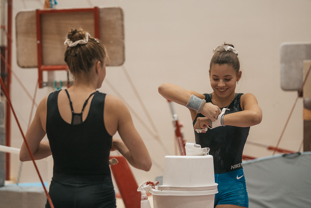 Gymnasts preparing for activity