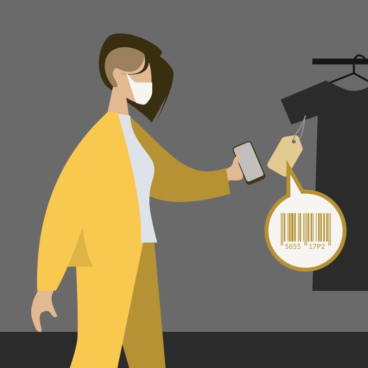 mujer escaneando vestido en tienda del mall con el celular sin tocar la prenda