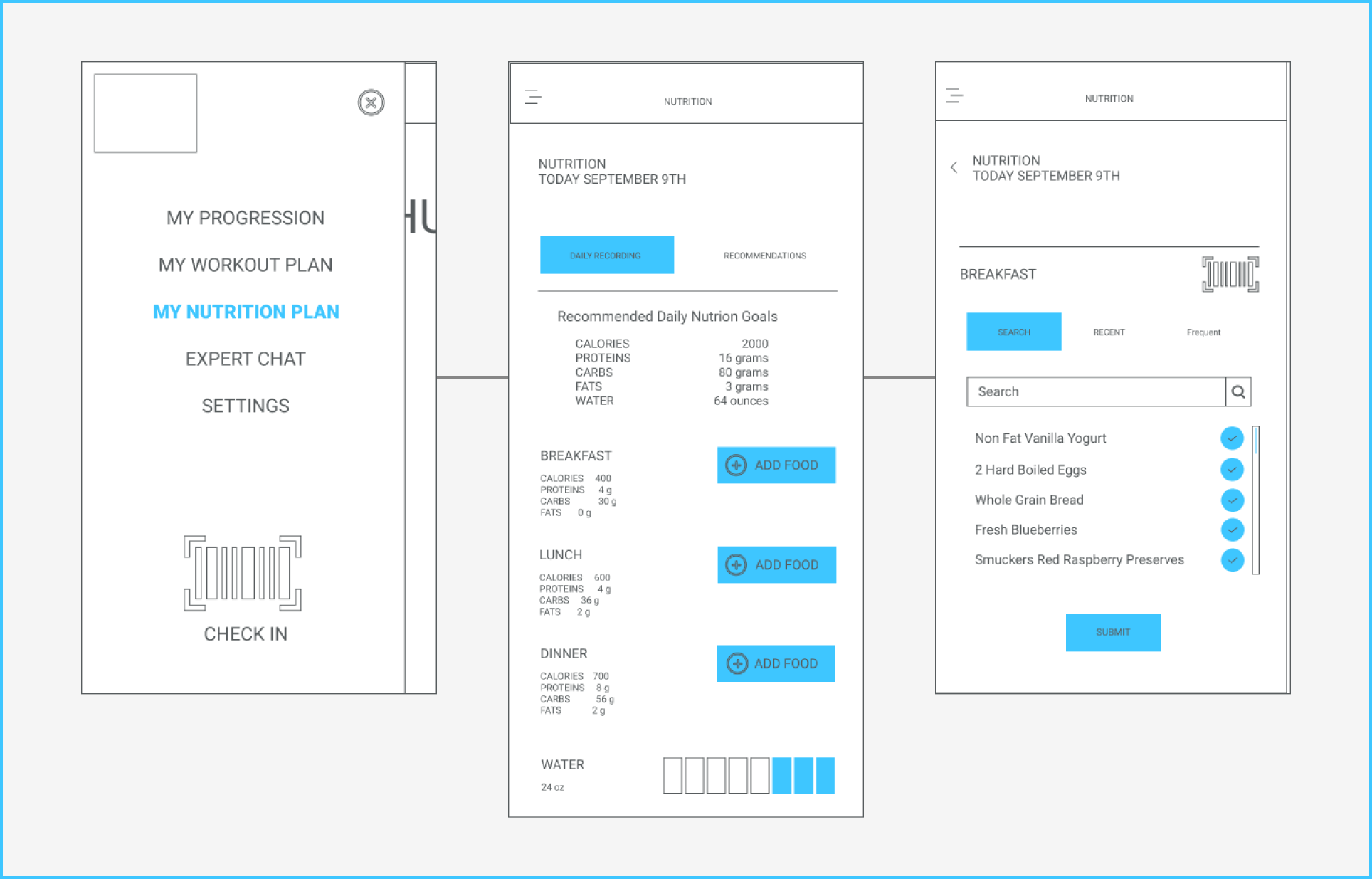Nutrition Wireframes