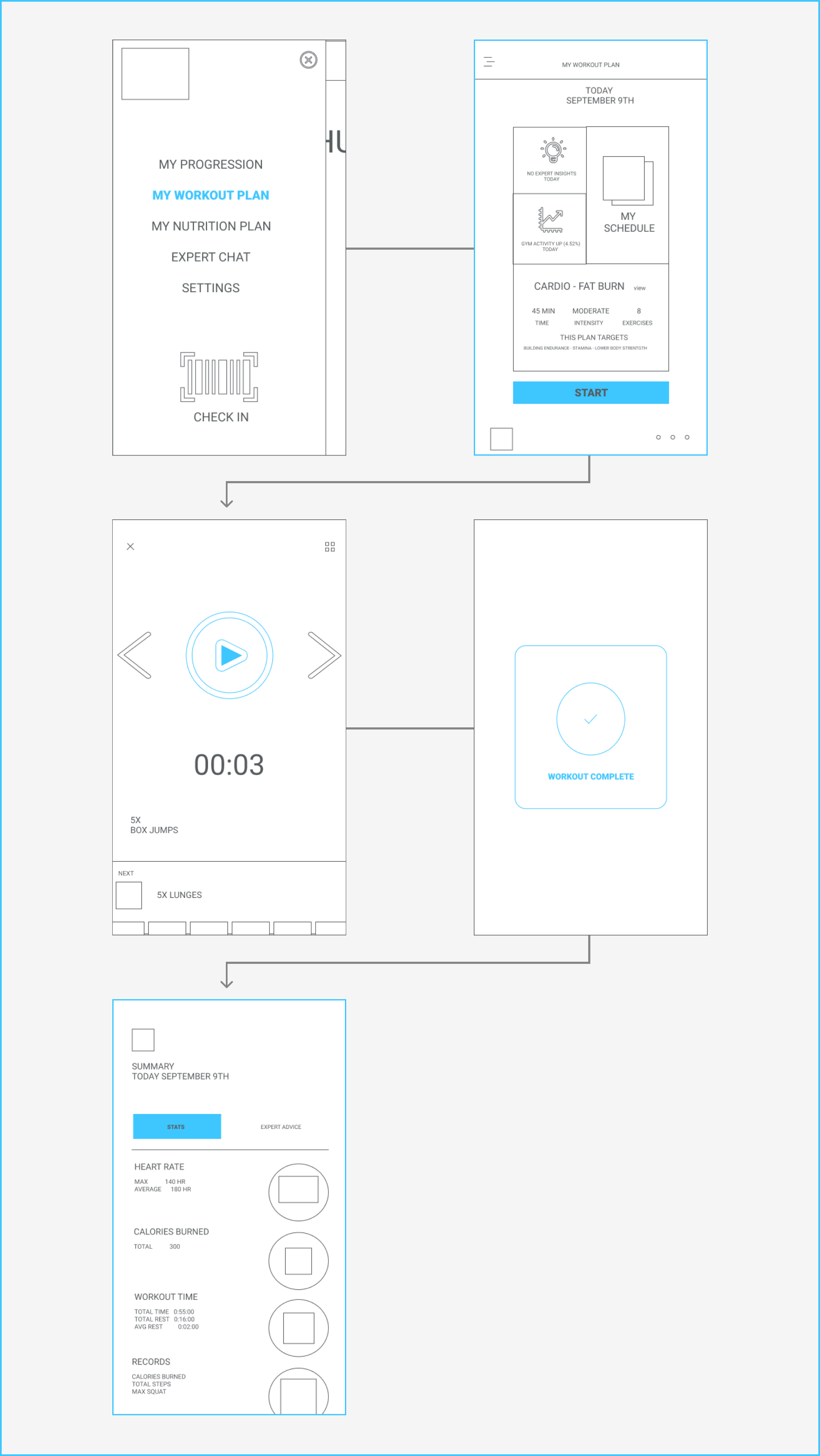 Workout Wireframes