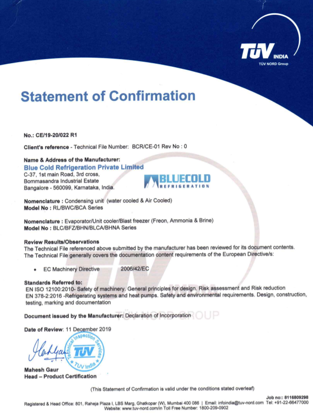 CE certified cold room systems