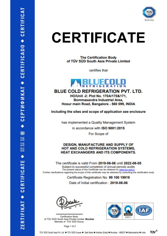 ISO certification of refrigeration system