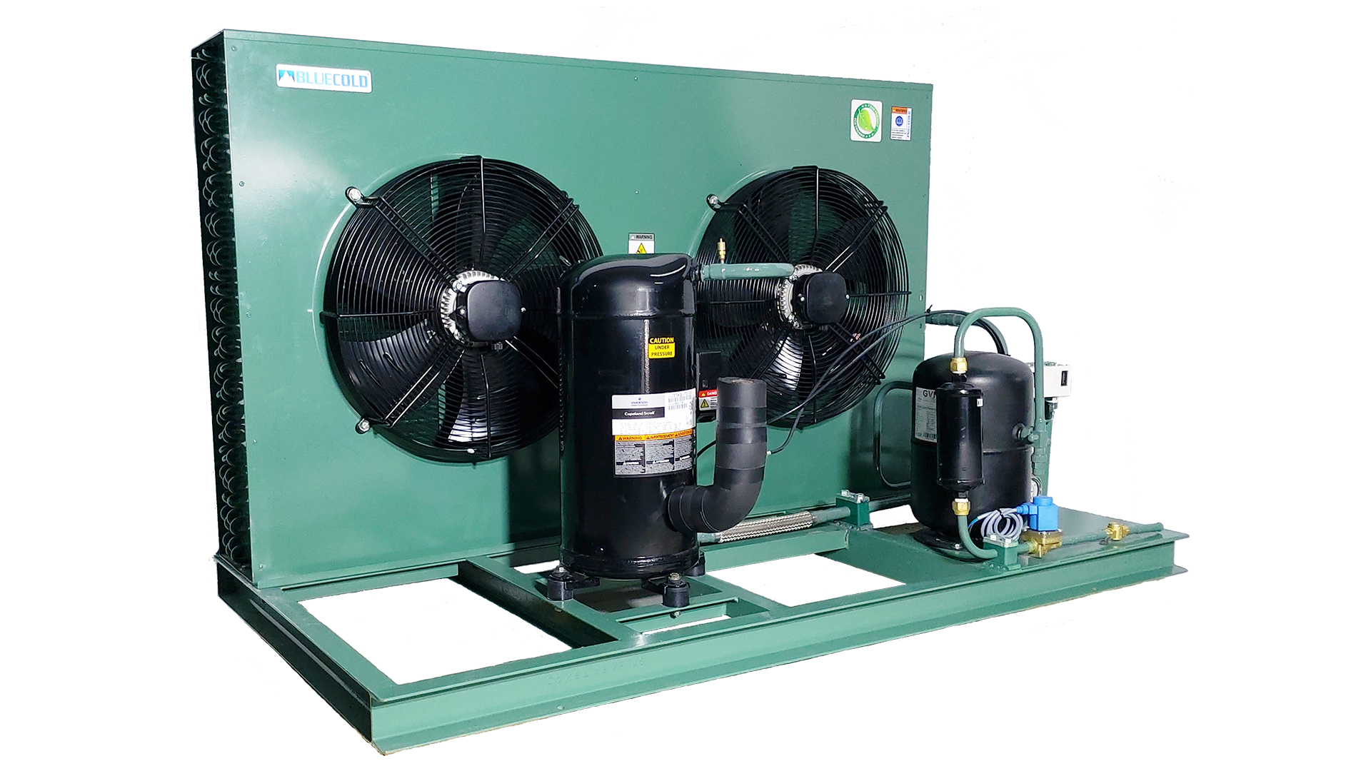 Green condensing unit with Emerson compressor manufactured by Blue Cold Refrigeration