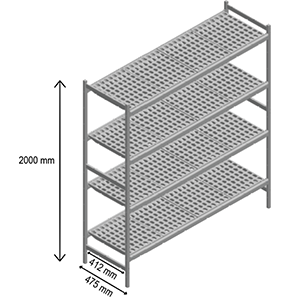 4 shelves storage
