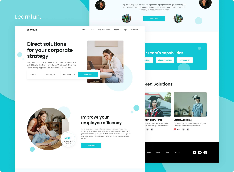 Website screens of a corporate learning platform Learnfun
