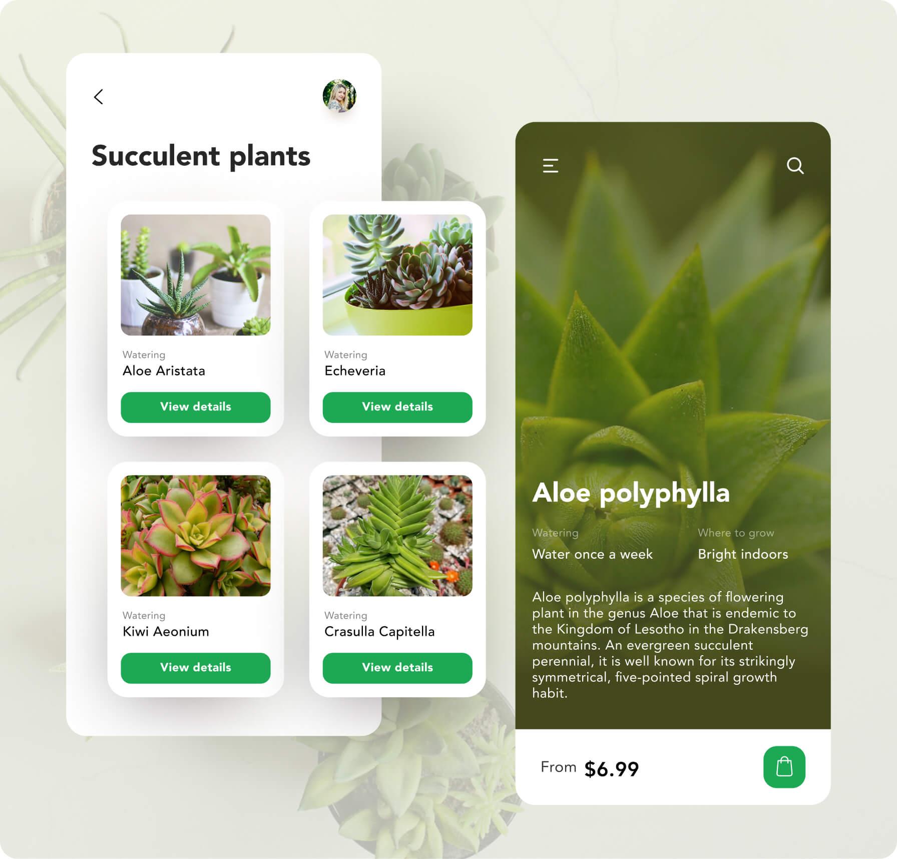 App screens of greenwood nursery