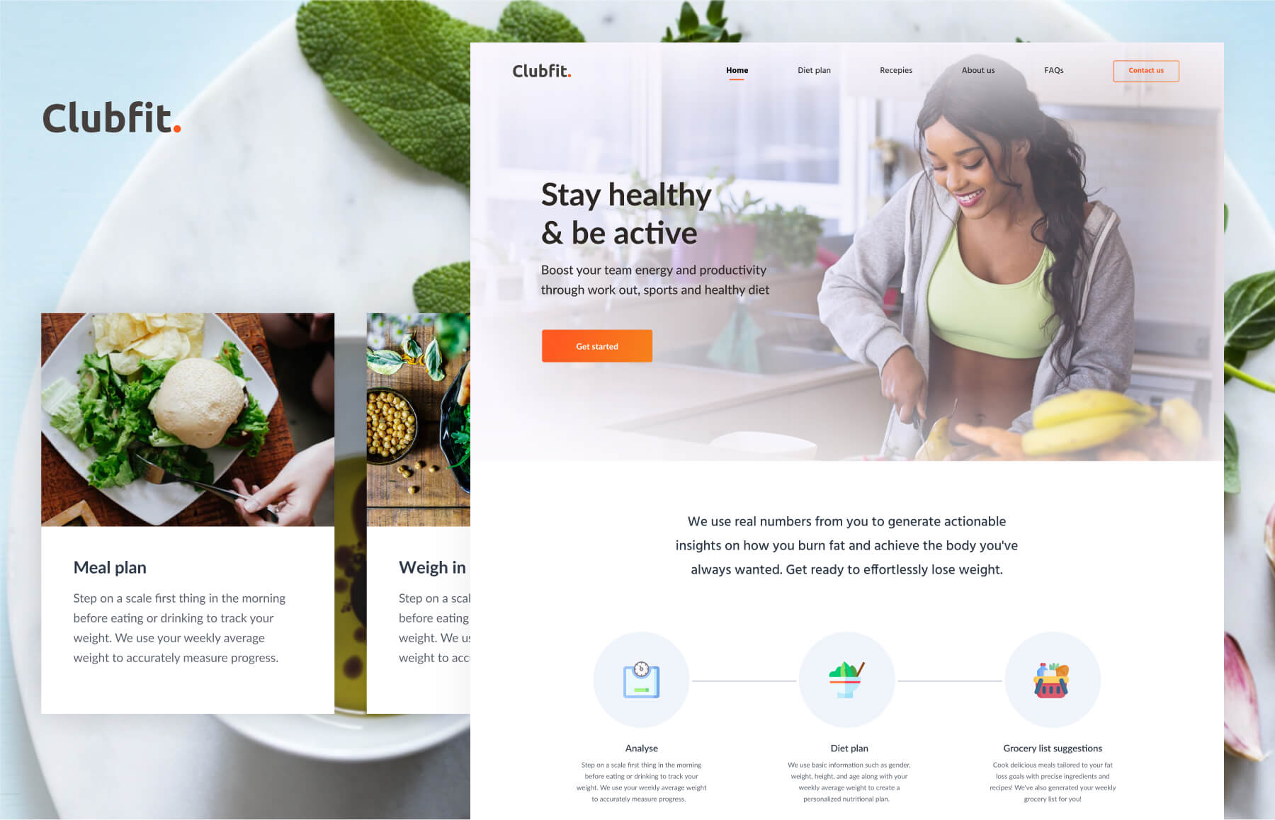 Website screen for Clubfit