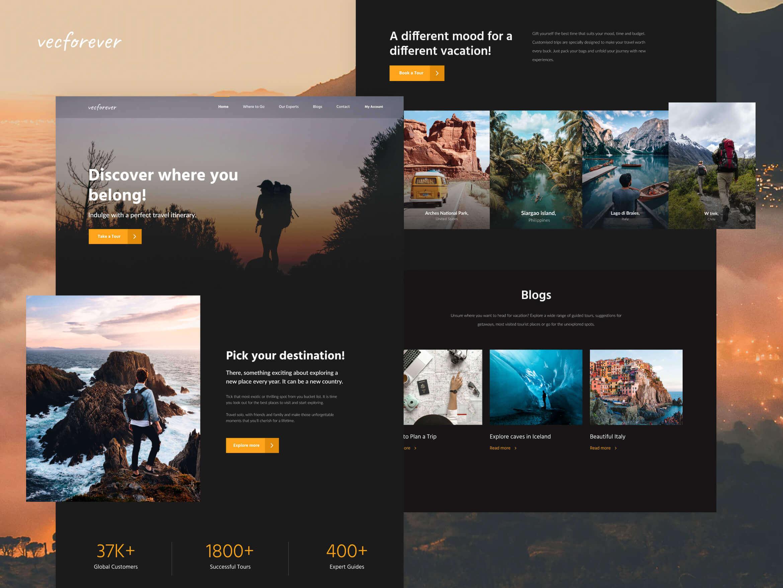 website screens for Vecforever