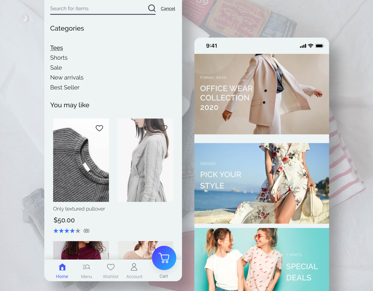 app screens of a fashion ecommerce brand