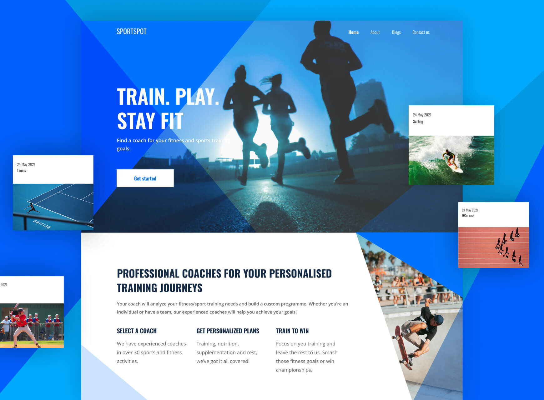 Website home page and image cards for Sportspot