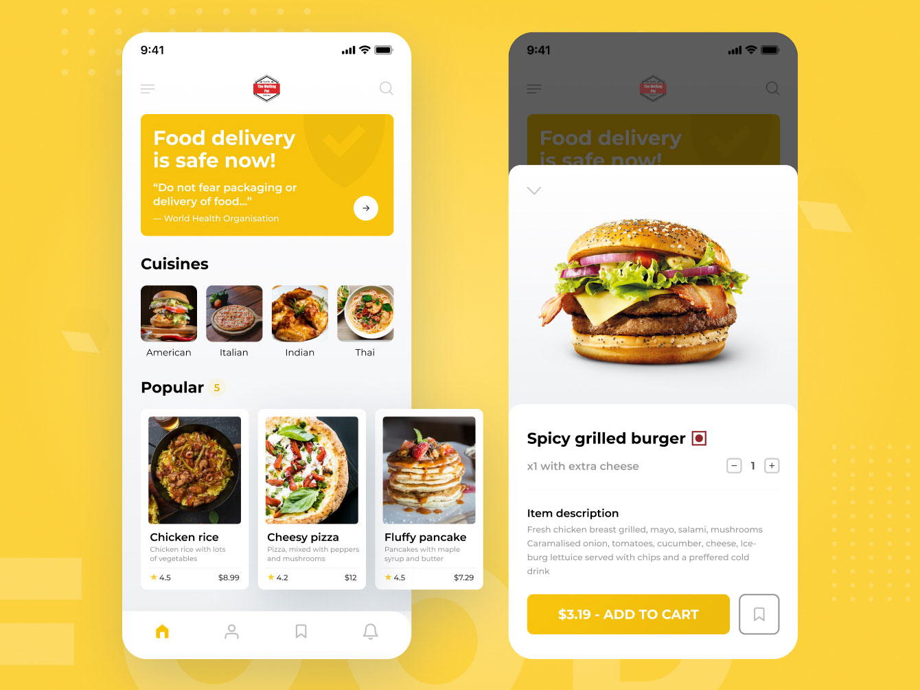 Food order and delivery app screens