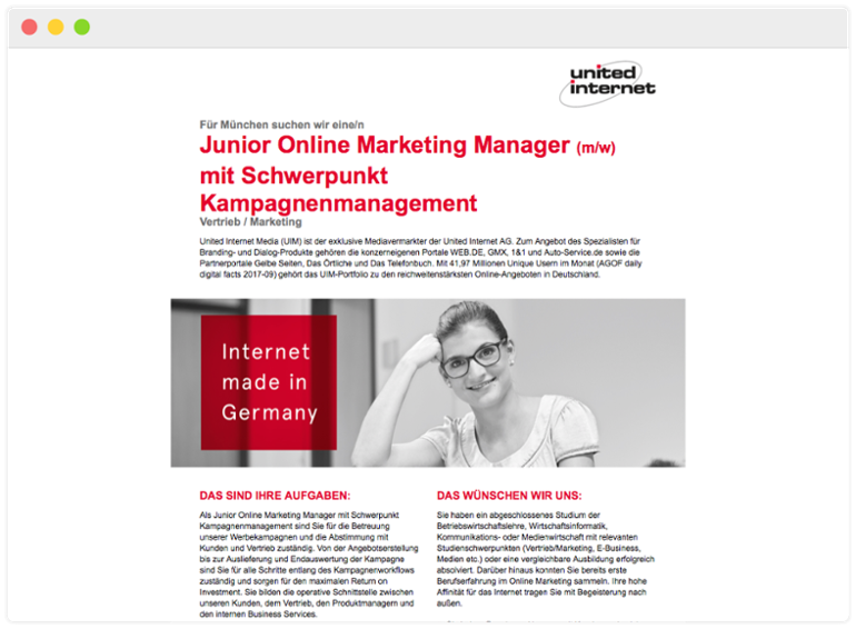 Stellenausschreibung united internet für Junior Online Marketing Manager