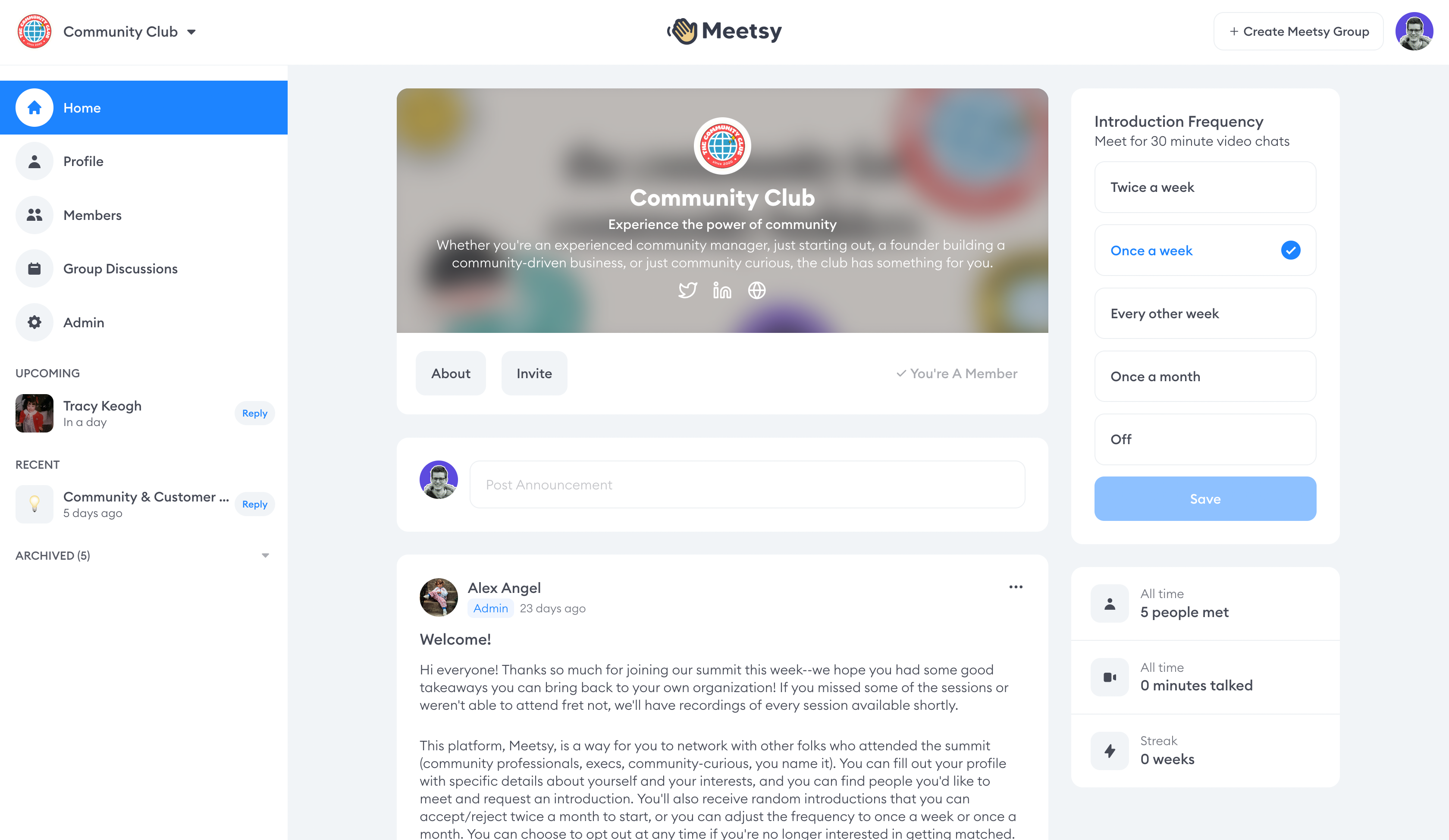 A view of The Community Club's Meetsy dashboard.