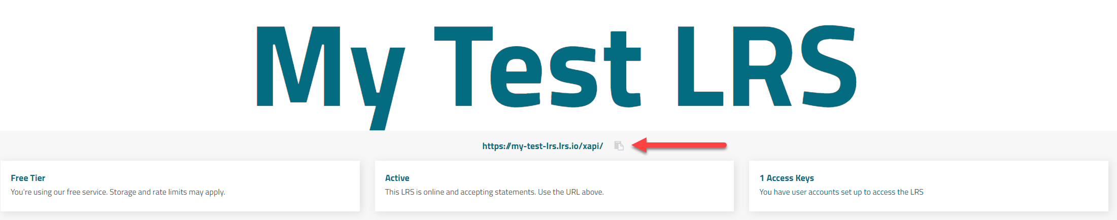 Copy and paste LRS endpoint from beneath the LRS title