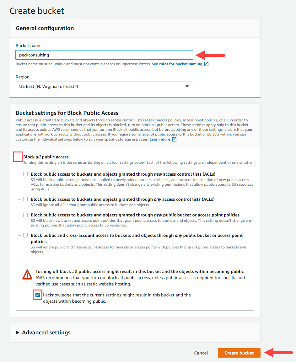 """Create the Amazon S3 bucket and uncheck """"Block all public access"""""""