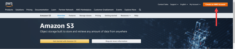 """Select """"Create an AWS Account"""" button on Amazon S3 homepage"""