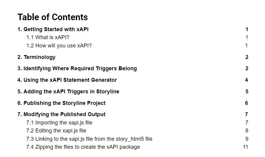 Table of Contents for xAPI Documentation