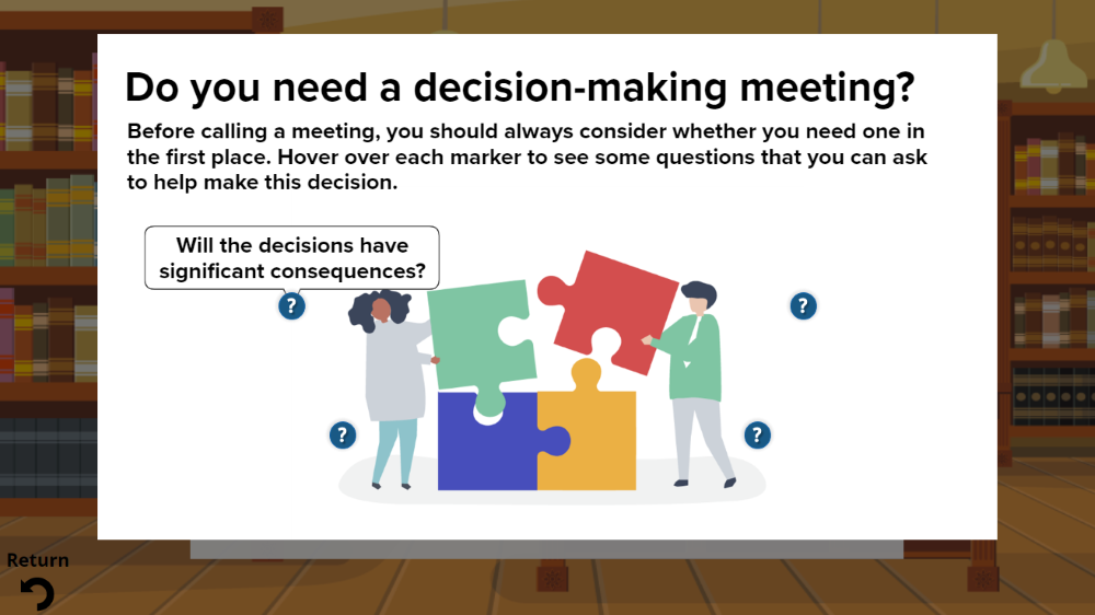 Supporting content lightbox in decision-making meeting course