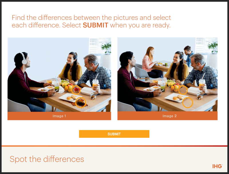Can you spot the difference eLearning interaction screenshot
