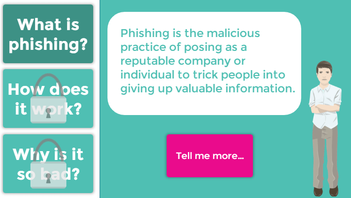 eLearning screen showing Q&A with phishing avatar