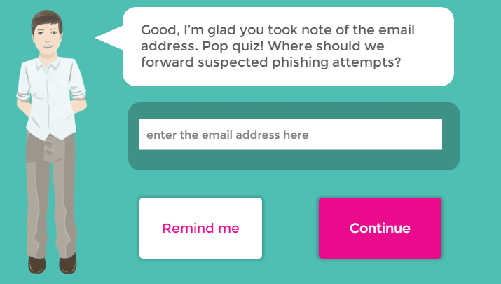Email address quiz screenshot from Storyline microlearning course