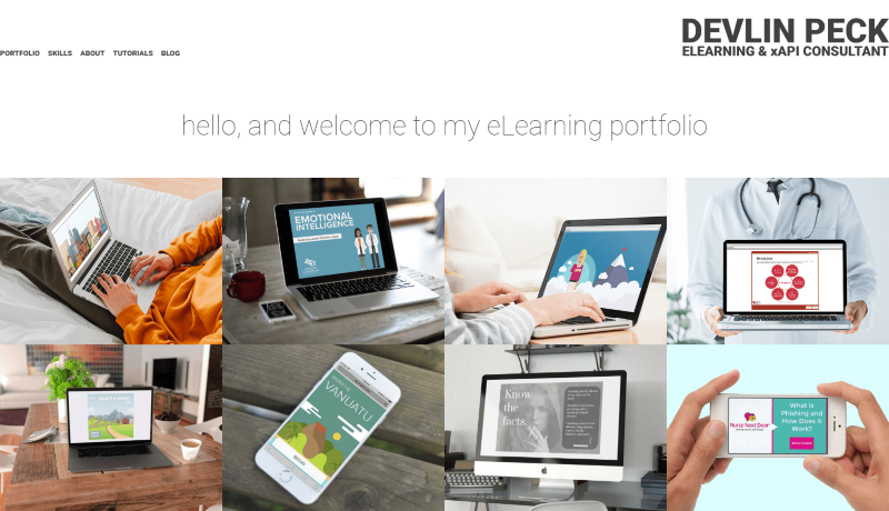 Devlin Peck's Hand-coded eLearning Portfolio Website