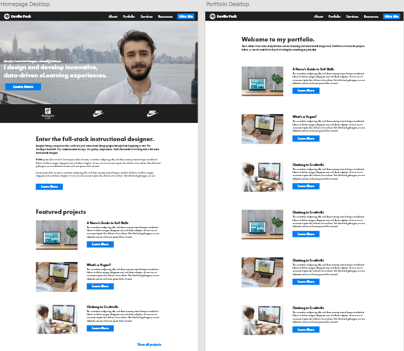 Devlin Peck's Webflow Website Mockup in Adobe XD