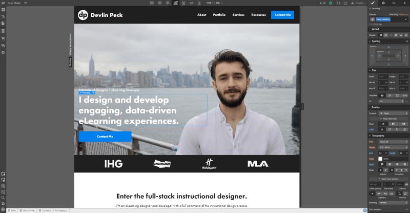 Webflow editor for devlinpeck.com site