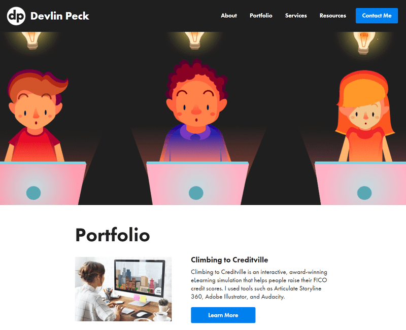 Devlin Peck's eLearning and instructional design portfolio screenshot