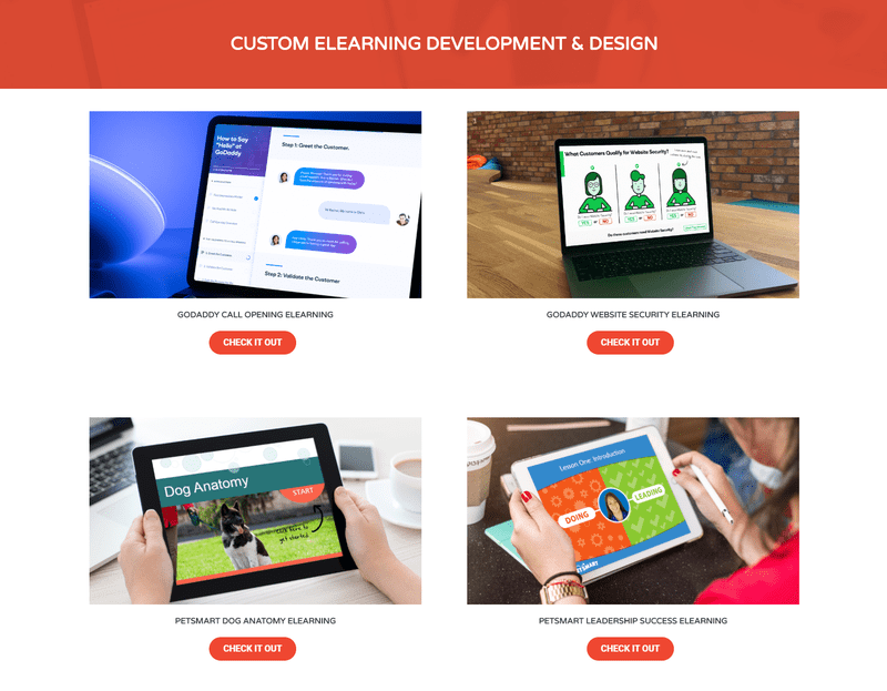 Tim Slade's custom eLearning portfolio screenshot
