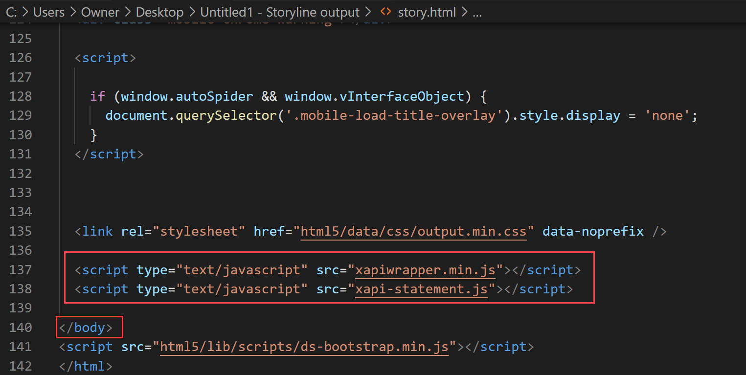 Add scripts above closing body tag screenshot