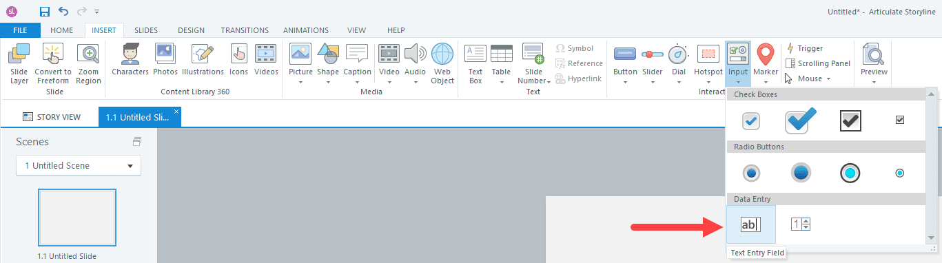 Storyline screenshot showing insert tab, input button, text entry field