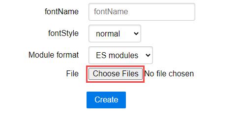 "Select ""Choose Files"" in jsPDF font converter screenshot"