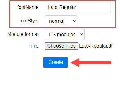 Take note of fontName and fontStyle jsPDF font converter screenshot