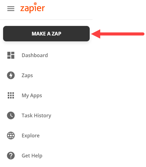 select the make a zap button in zapier