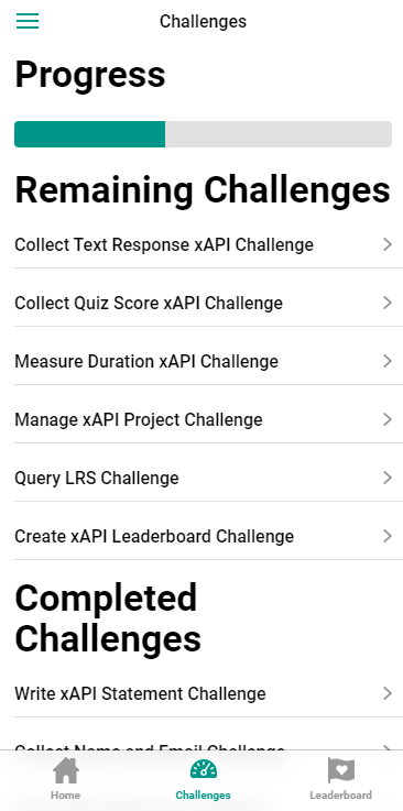 Progress bar and completed challenges in xAPI Challenges App