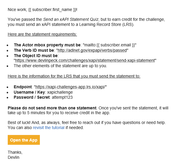 Statement sending challenge email example from xAPI Challenges App
