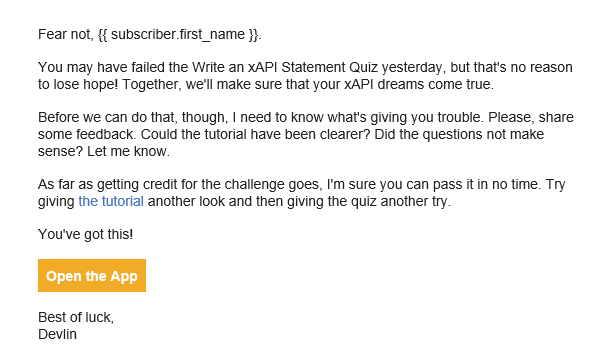 Quiz fail example email for xAPI Challenges App