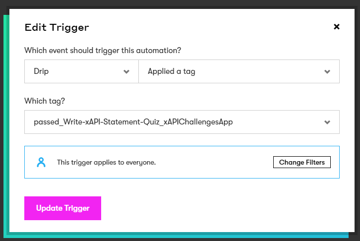 Change the trigger to Applied a tag and set the tag that you defined in Zapier