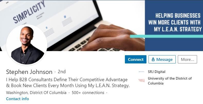 LinkedIn tagline example stephen johnson