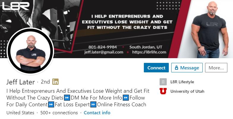 LinkedIn tagline example Jeff Later