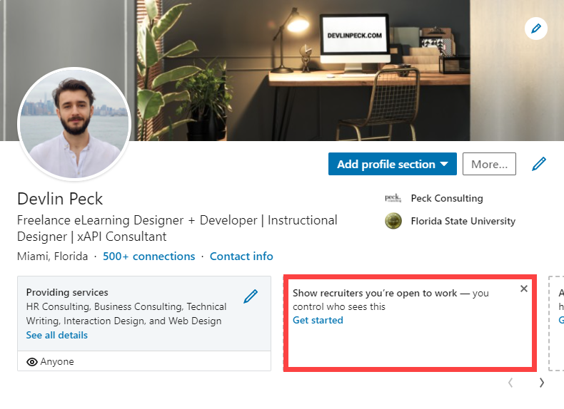 Show recruiters you're open to work LinkedIn button