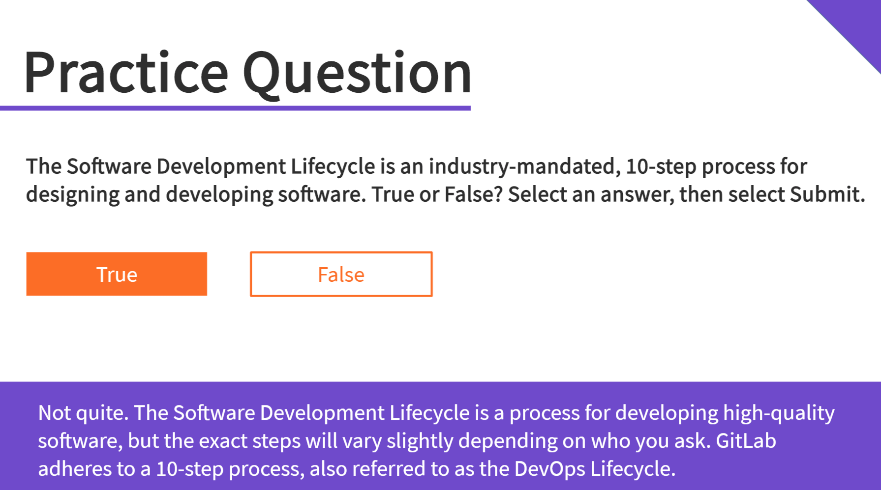 GitLab practice question eLearning screenshot