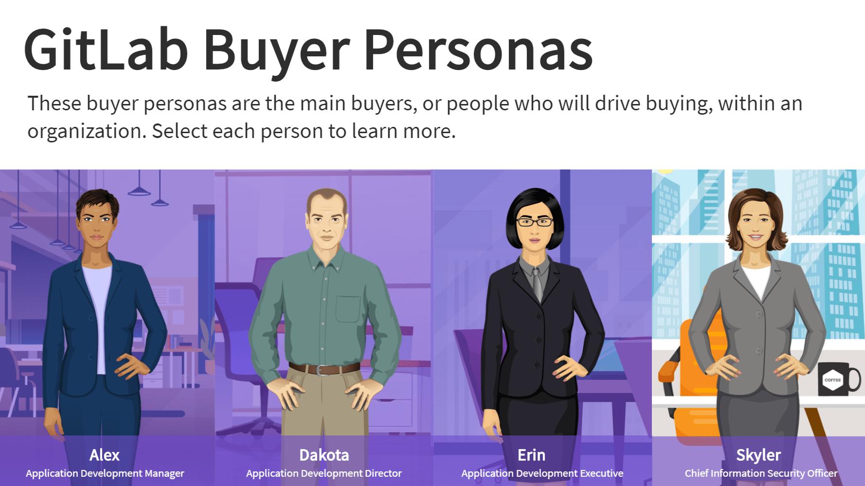 GitLab buyer personas screen eLearning screenshot